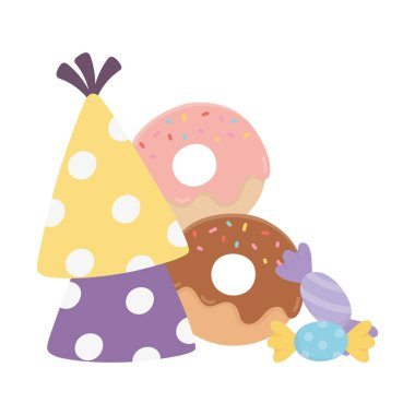 happy day, party hats donuts and candies cartoon