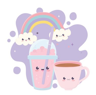 cute coffee cup and milkshake kawaii cartoon character