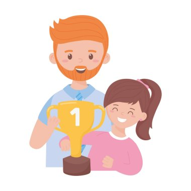 Father with daughter and trophy on fathers day vector design