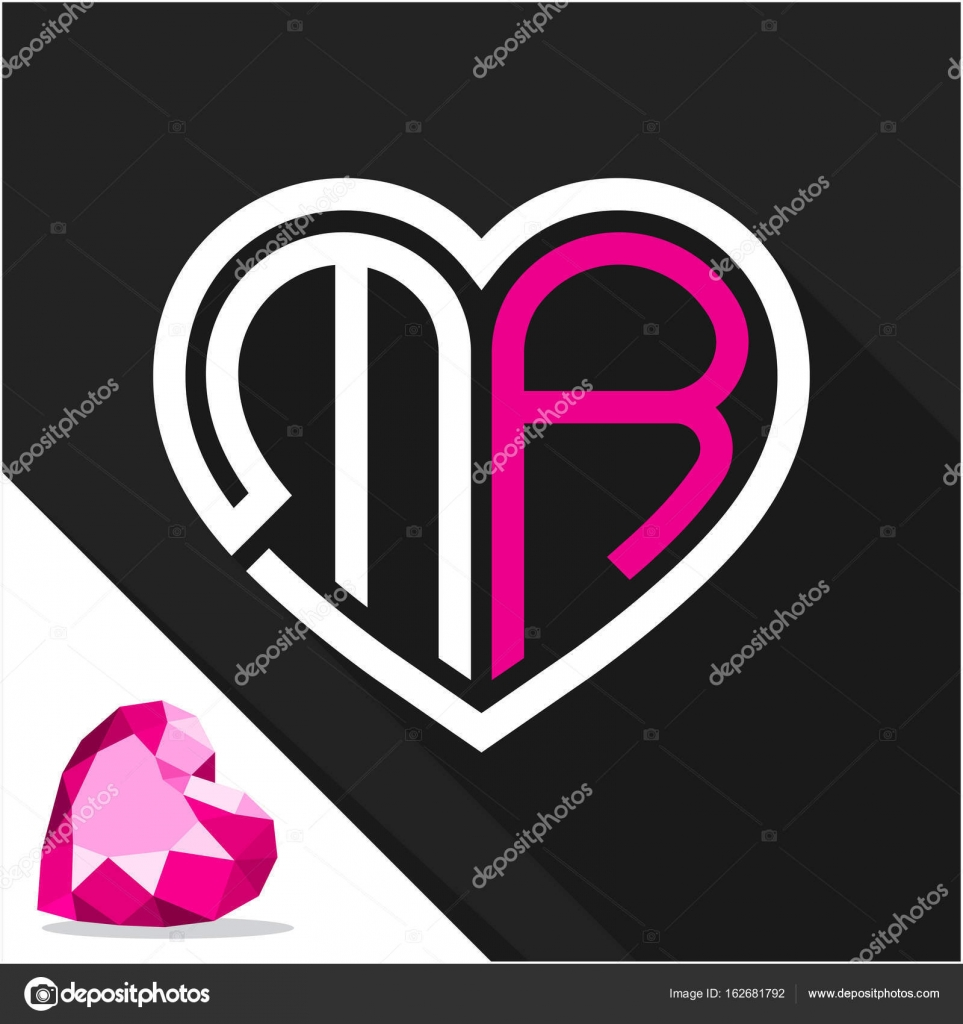 Icon Logo Heart Shape With Combination Of Initials Letter M R Stock Vector