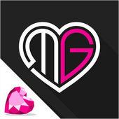 Fényképek Ikon logó szív alakú kombinációja a Monogram levél M  G