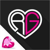 Fényképek Ikon logó szív alakú kombinációja a Monogram betű R  G