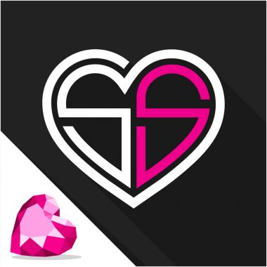 Icon logo heart shape with combination of initials letter S & S