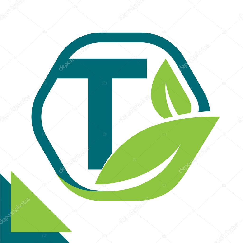 abstract logo icon leaf concept, environment, healthy, green technology with combination of letter T
