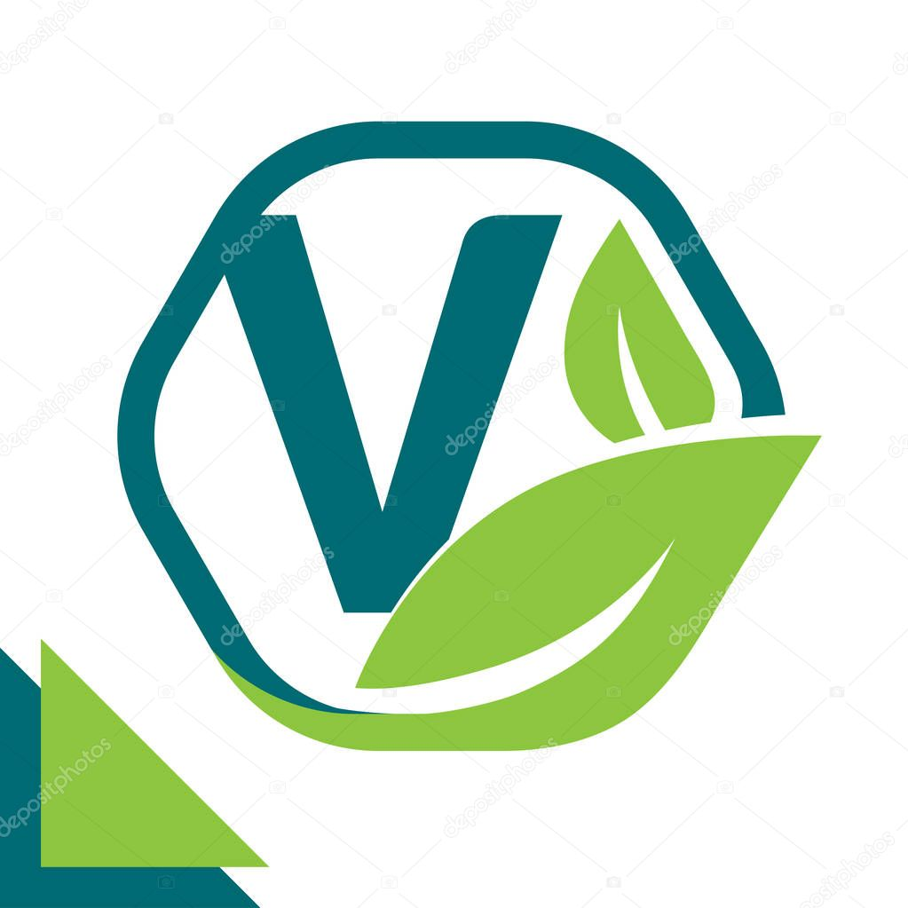 abstract logo icon leaf concept, environment, healthy, green technology with combination of letter V