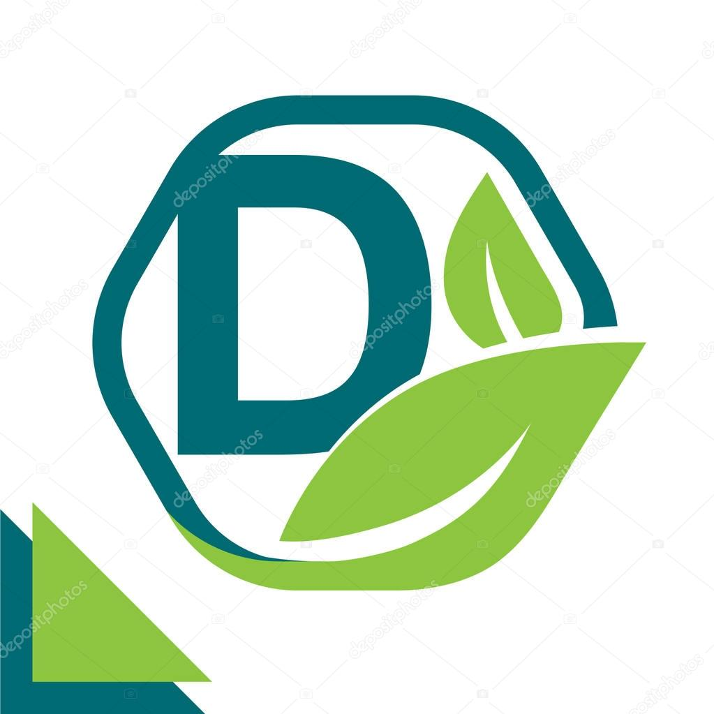 abstract logo icon leaf concept, environment, healthy, green technology with combination of letter D