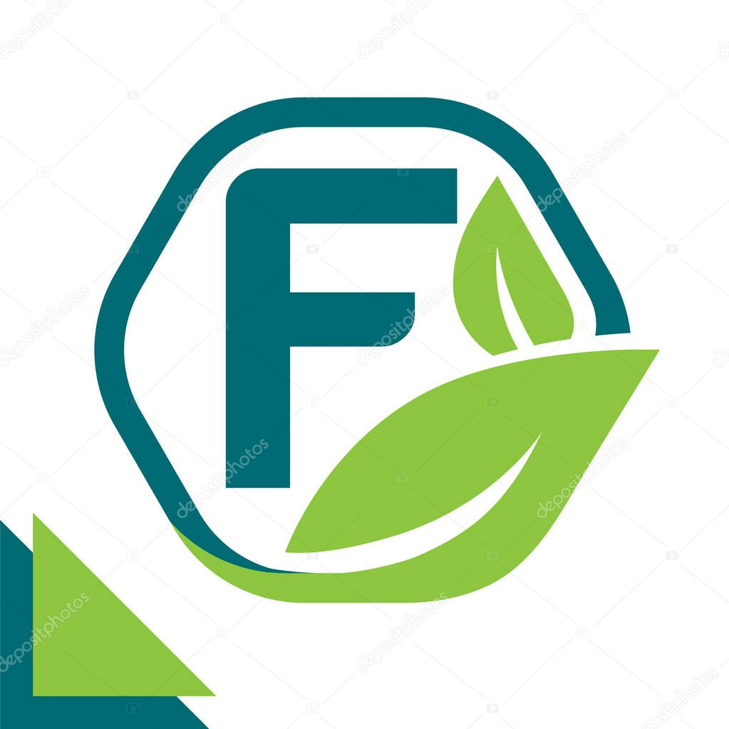 abstract logo icon leaf concept, environment, healthy, green technology with combination of letter F