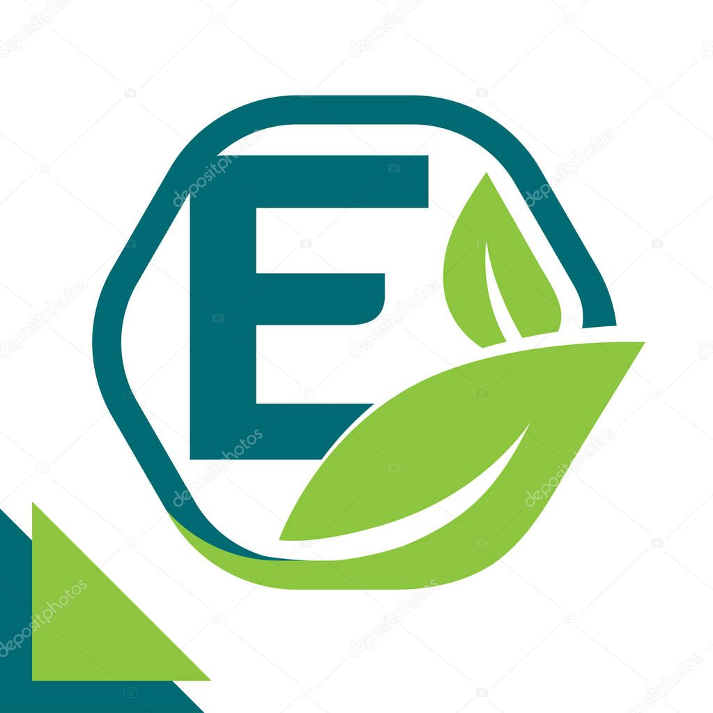 abstract logo icon leaf concept, environment, healthy, green technology with combination of letter E