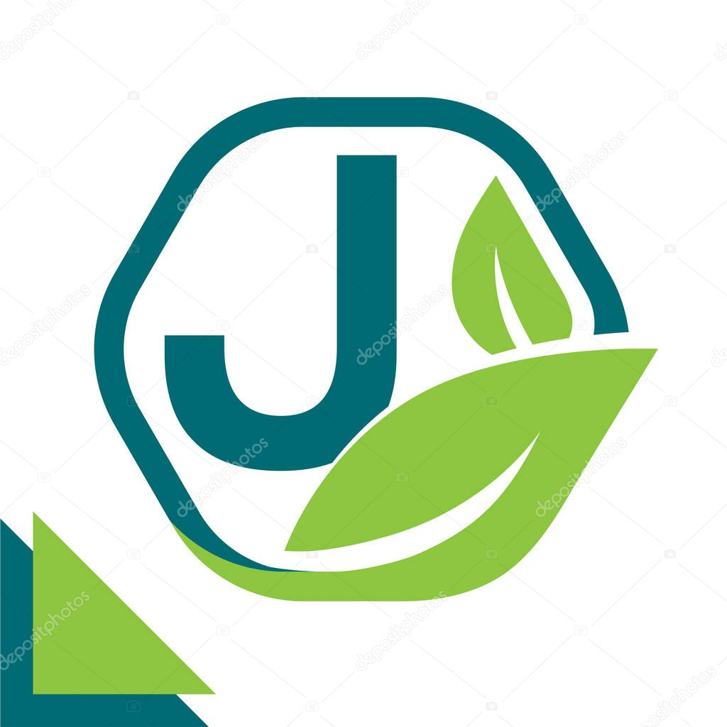 abstract logo icon leaf concept, environment, healthy, green technology with combination of letter J
