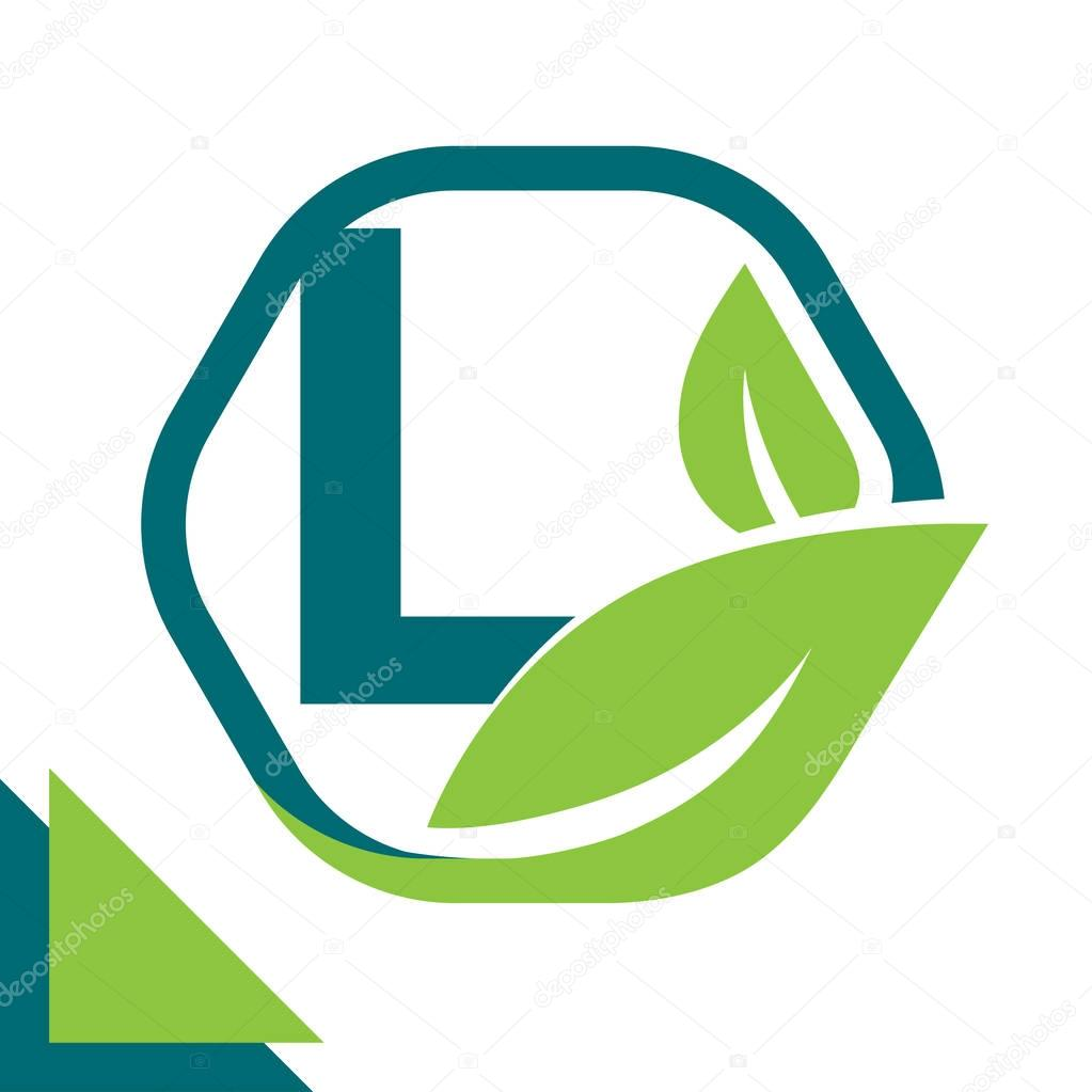 abstract logo icon leaf concept, environment, healthy, green technology with combination of letter L