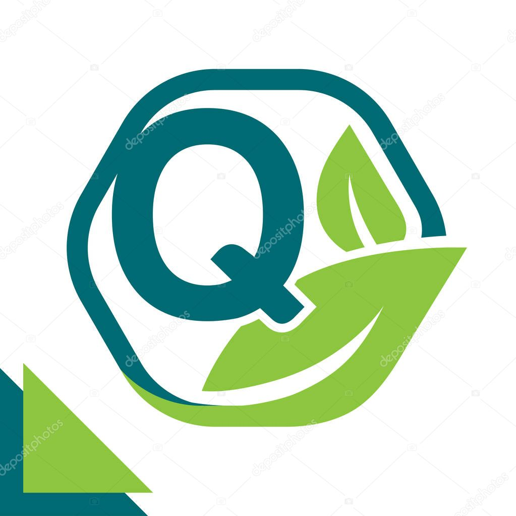 abstract logo icon leaf concept, environment, healthy, green technology with combination of letter Q
