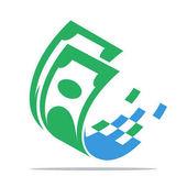 illusztrációk, a digitális pénz. Ikon logo digitális üzleti, pénzügyi szolgáltatások.