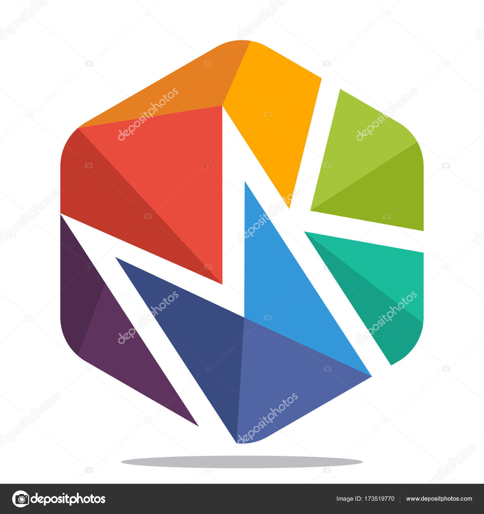 Kształt Sześciokąt Ikonę Logo Z Mozaiki Styl Z Kombinacją Liter