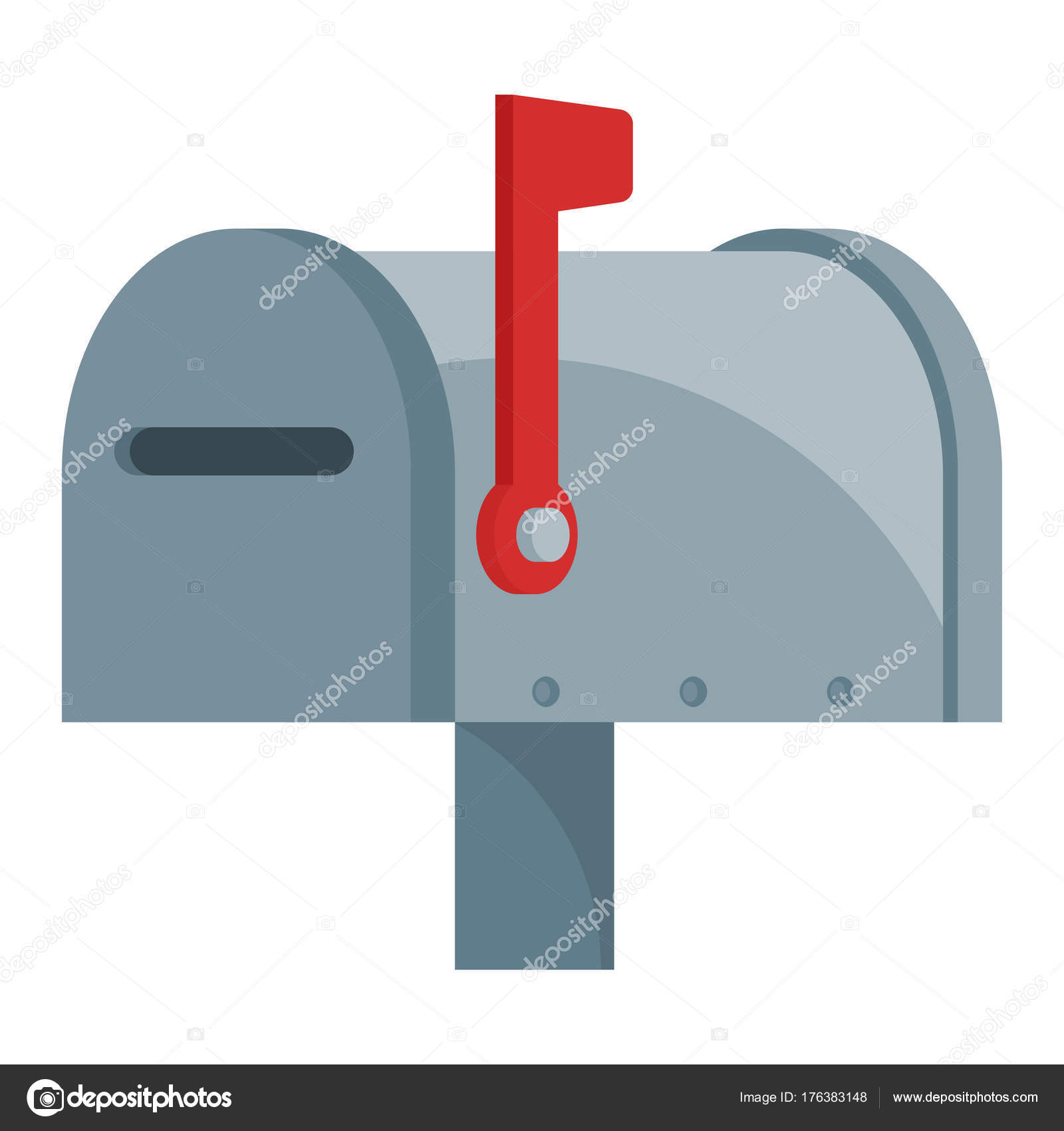 Illustration Icon Mailbox Closed Condition Flag Stock Vector