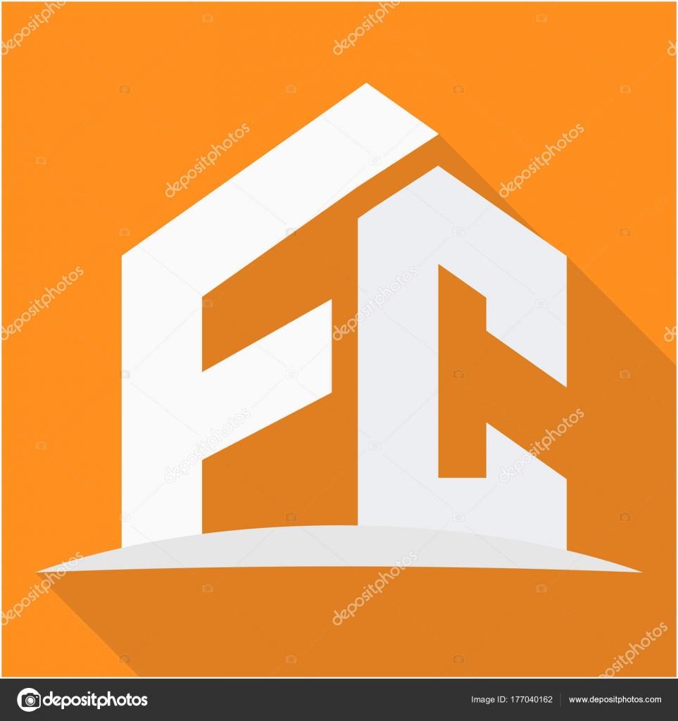 icon logo construction business combination initials stock vector