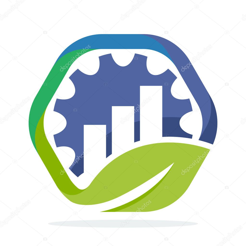 icons of hexagon shape logo with the concept of environmentally friendly business development industry, can also for the growth of industrial business
