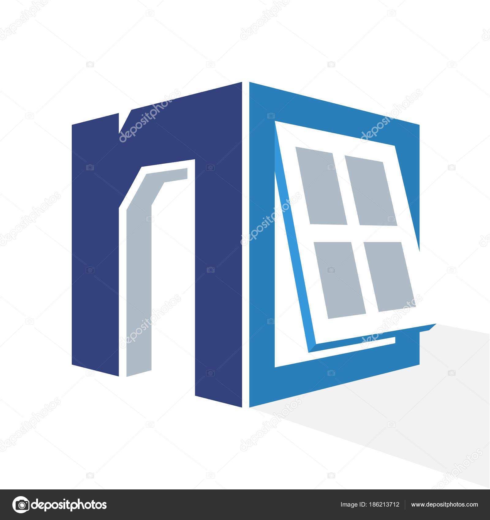 Logo Icónico Con Una Combinación Del Ventana Marco Letra Inicial ...