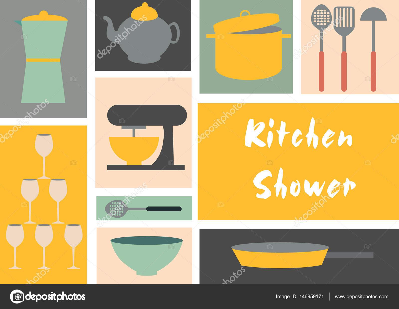 Tarjeta de diseño de plantilla de cocina ducha — Archivo Imágenes ...