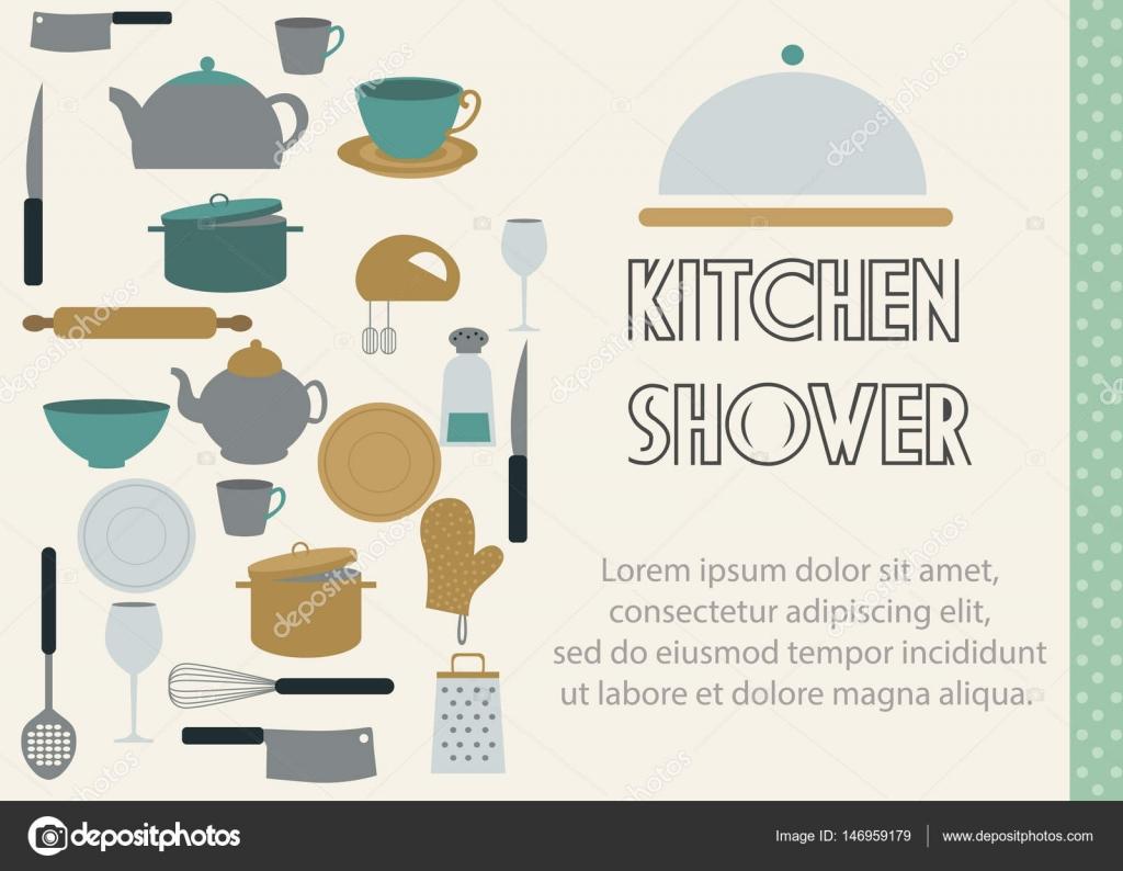 Tarjeta de diseño de plantilla de cocina ducha — Vector de stock ...