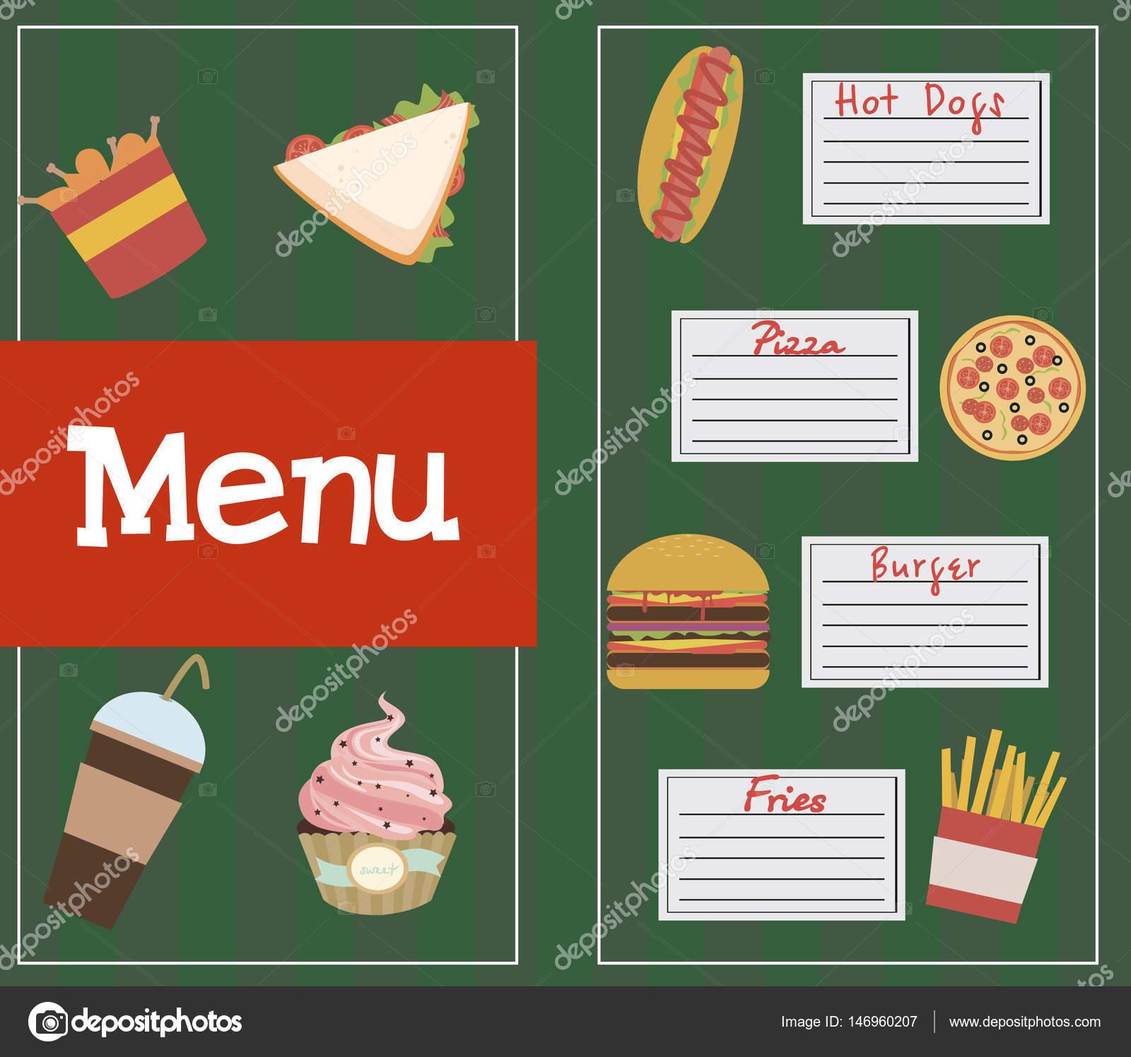 Fast-Food-Speisekarte — Stockvektor © Vissay #146960207