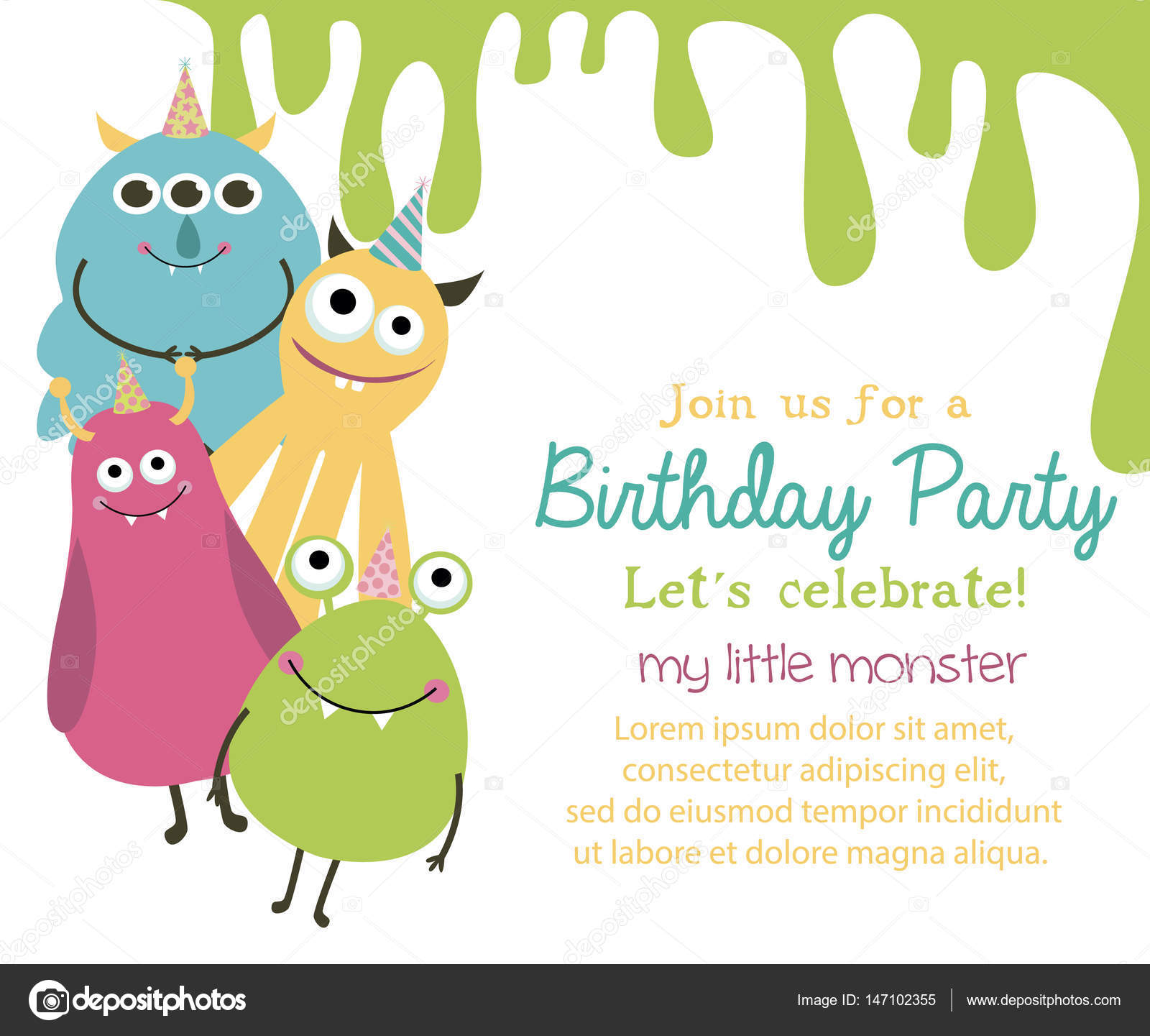 Monster party card — Stock Vector © Vissay #147102355
