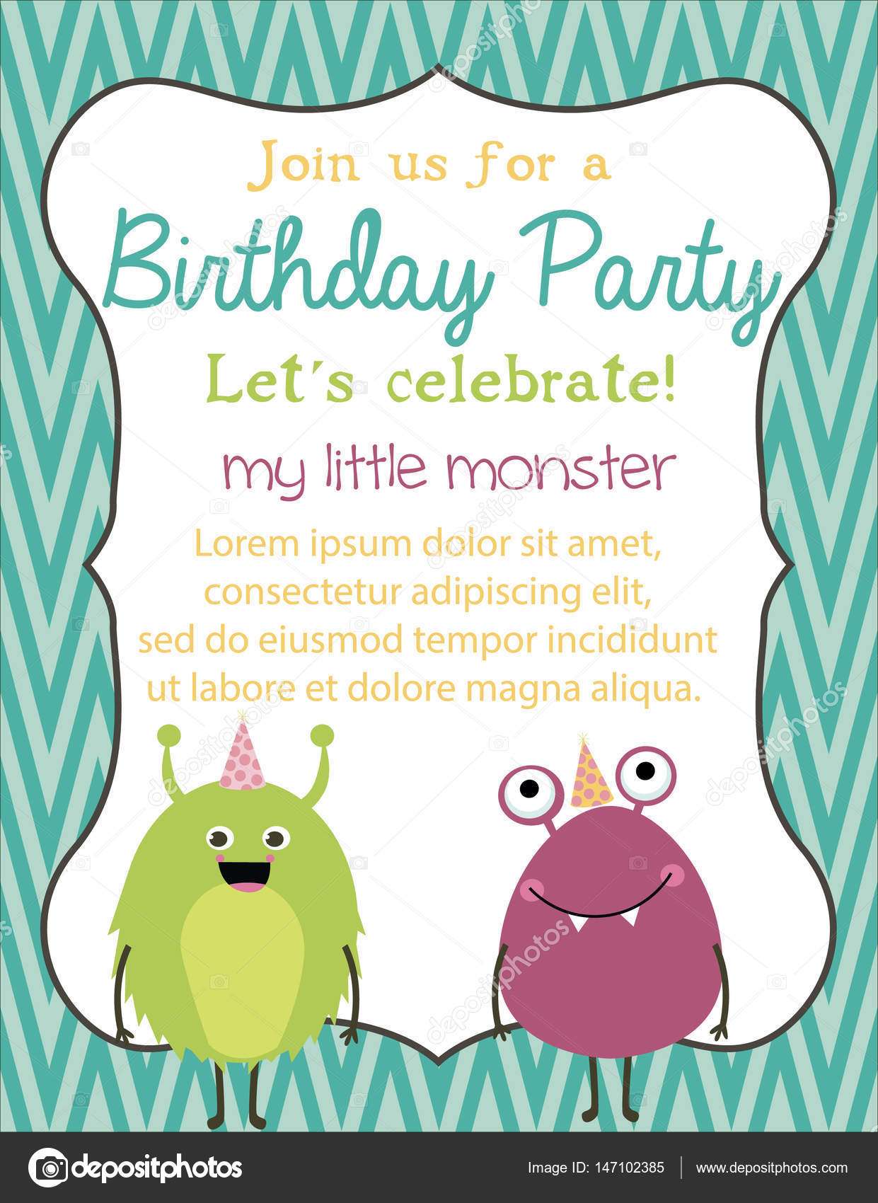 Monster party card — Stock Vector © Vissay #147102385