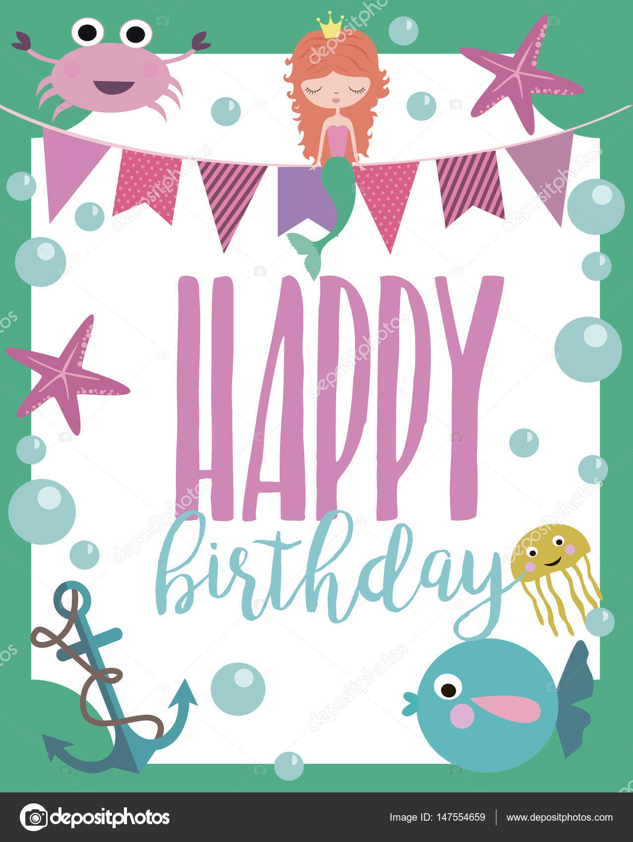 Happy Birthday greeting or invitation card template — Stock Vector ...