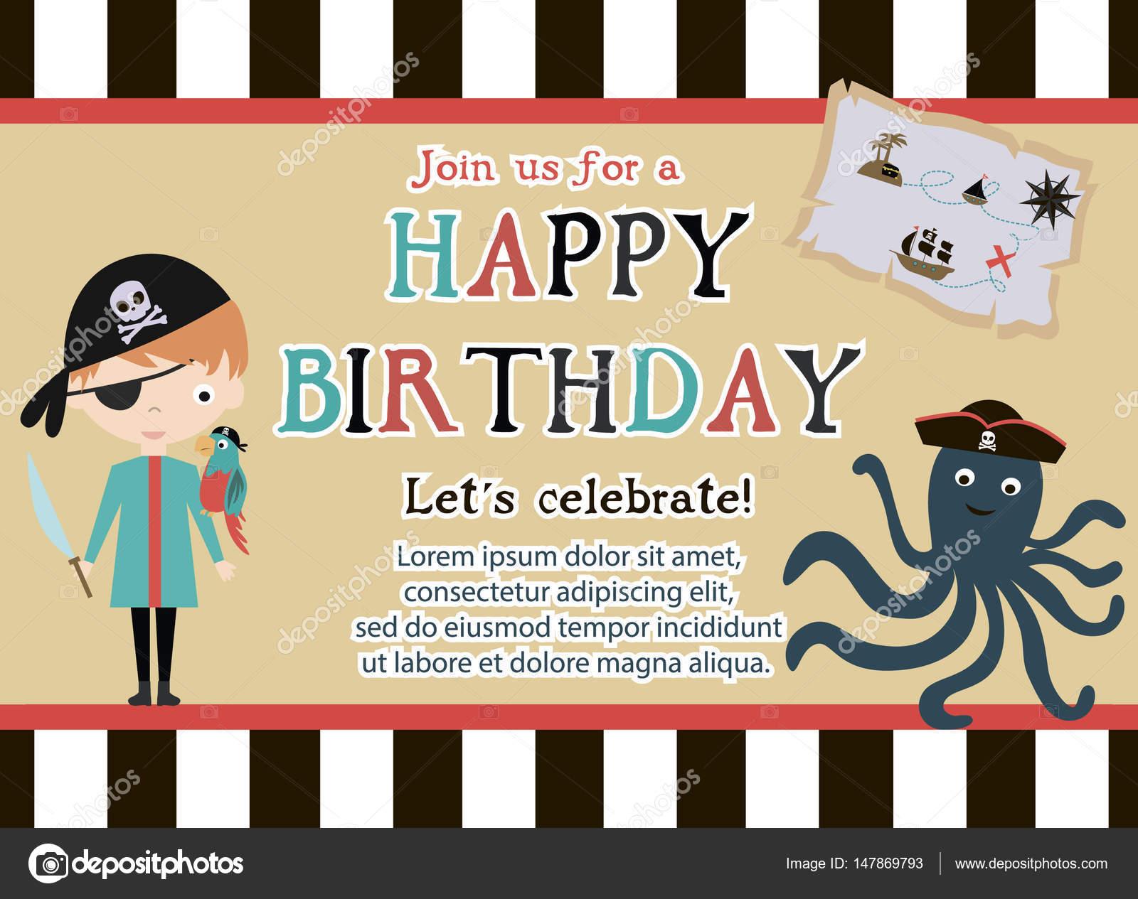 Pirate happy birthday invitation card stock vector vissay 147869793 pirate happy birthday invitation card stock vector stopboris Image collections