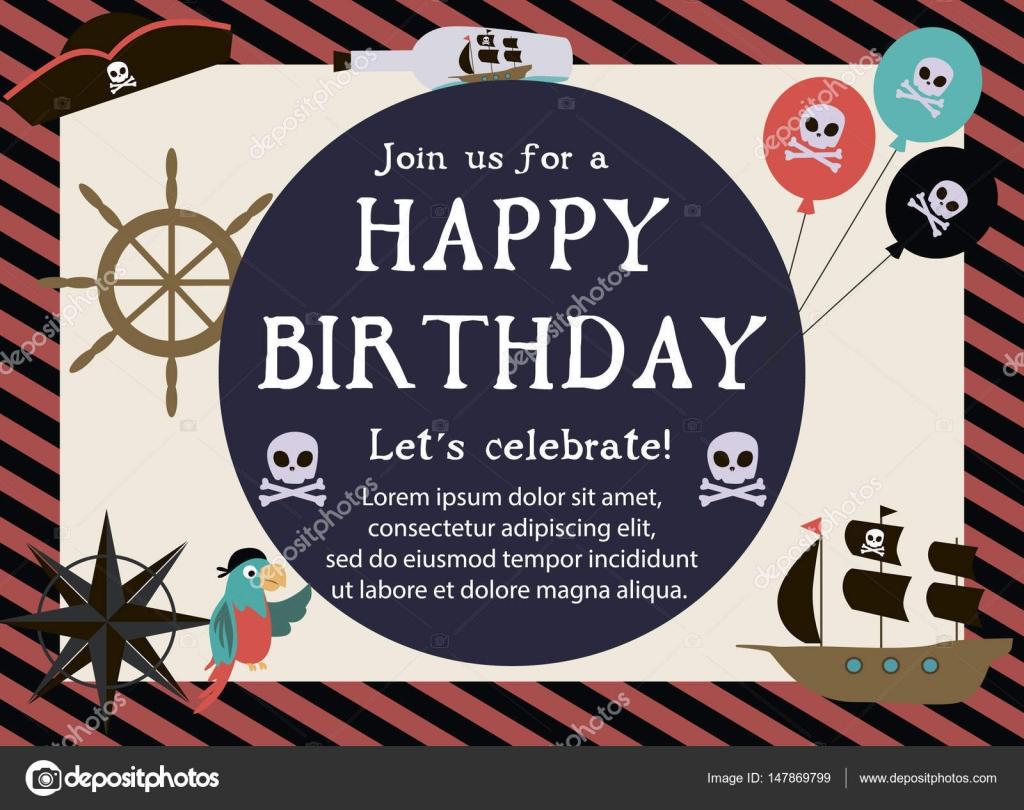 Pirate happy birthday invitation card stock vector vissay 147869799 pirate happy birthday invitation card stock vector stopboris Image collections