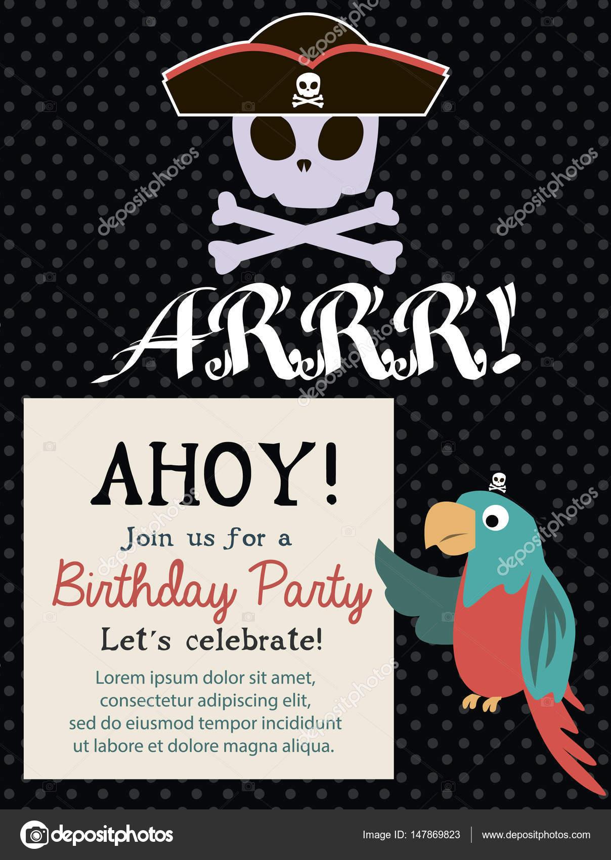 Tarjeta de invitación de cumpleaños pirata — Archivo Imágenes ...