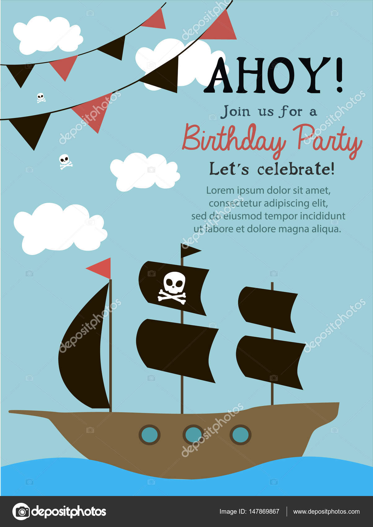 Pirate happy birthday invitation card stock vector vissay 147869867 pirate happy birthday invitation card stock vector stopboris Image collections