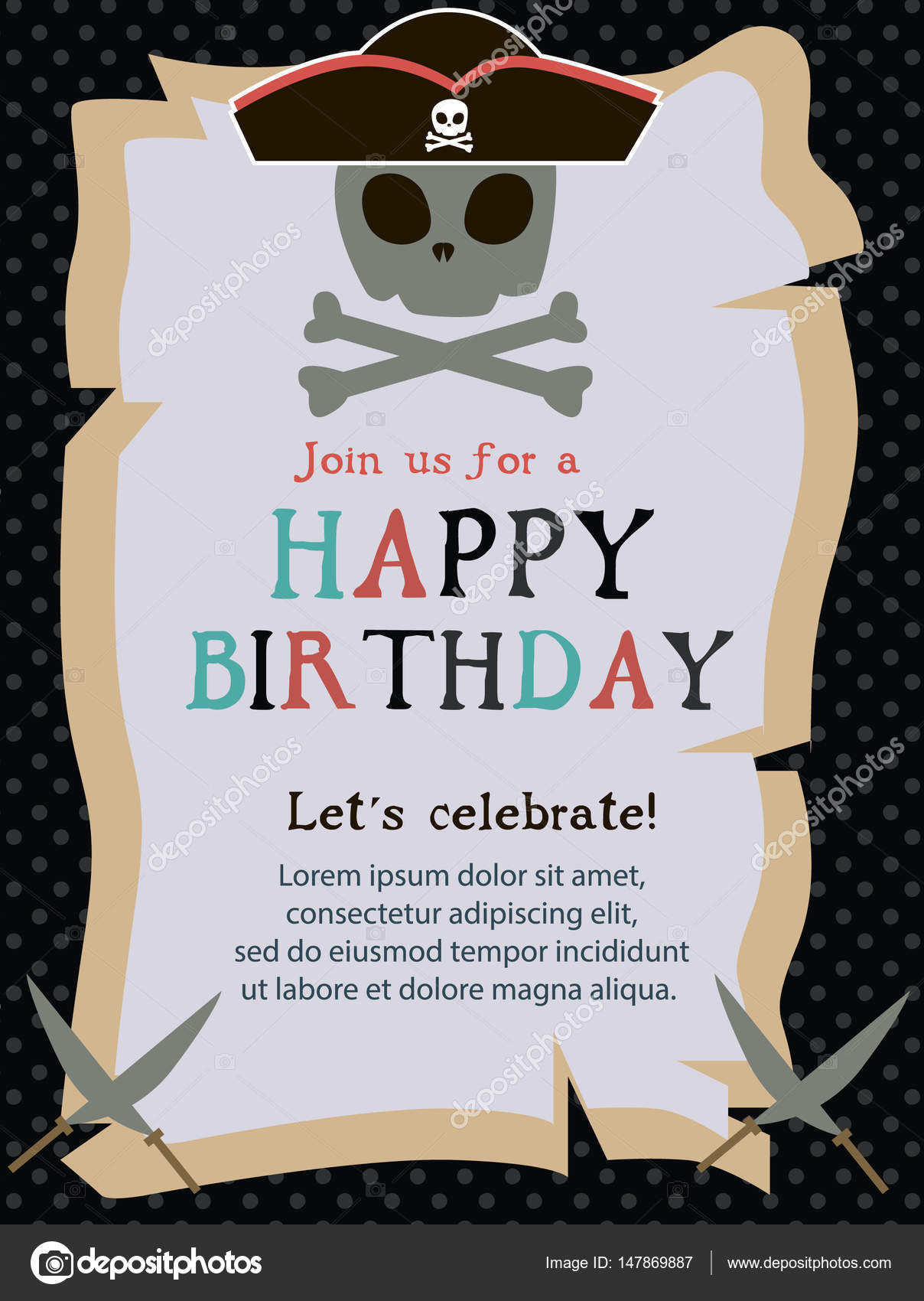 Pirate Happy Birthday invitation card — Stock Vector © Vissay #147869887