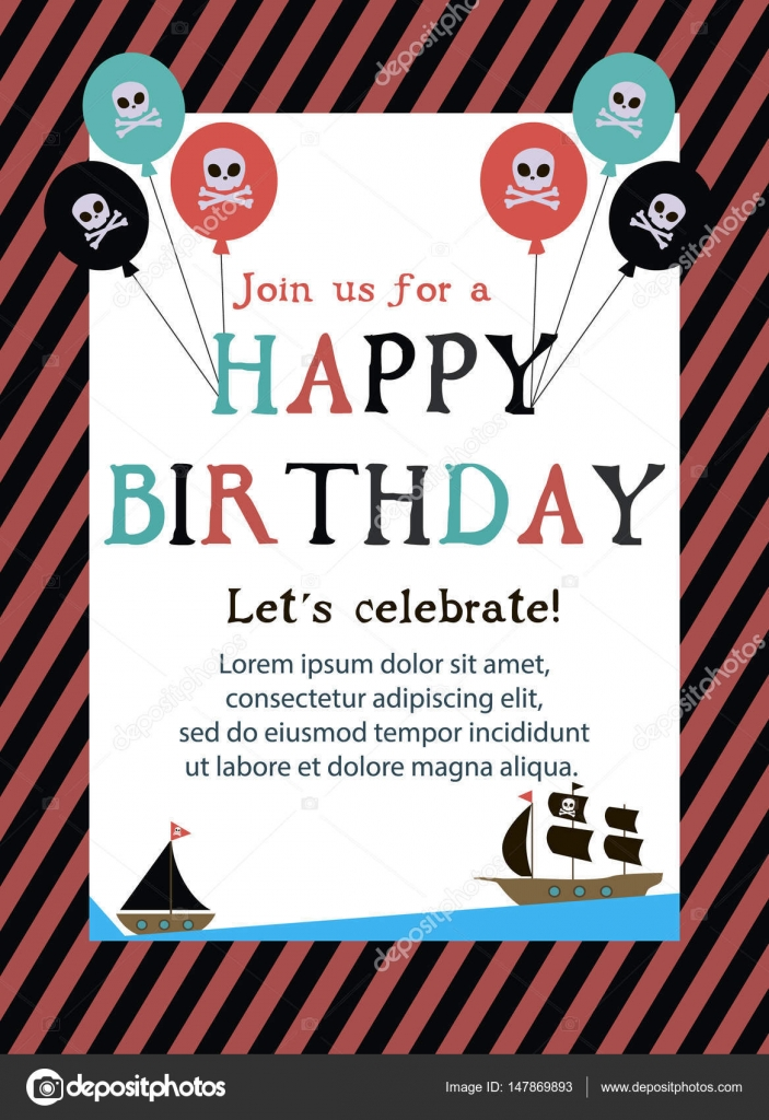 Pirate Happy Birthday invitation card — Stock Vector © Vissay #147869893