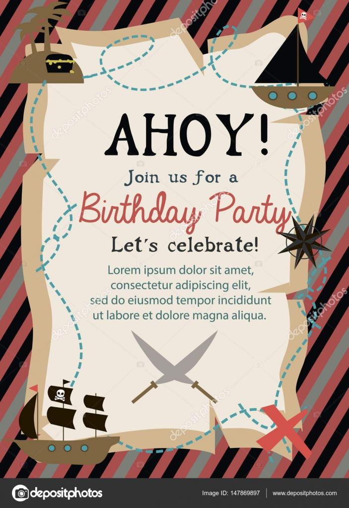 Tarjeta de invitación de cumpleaños pirata — Vector de stock ...