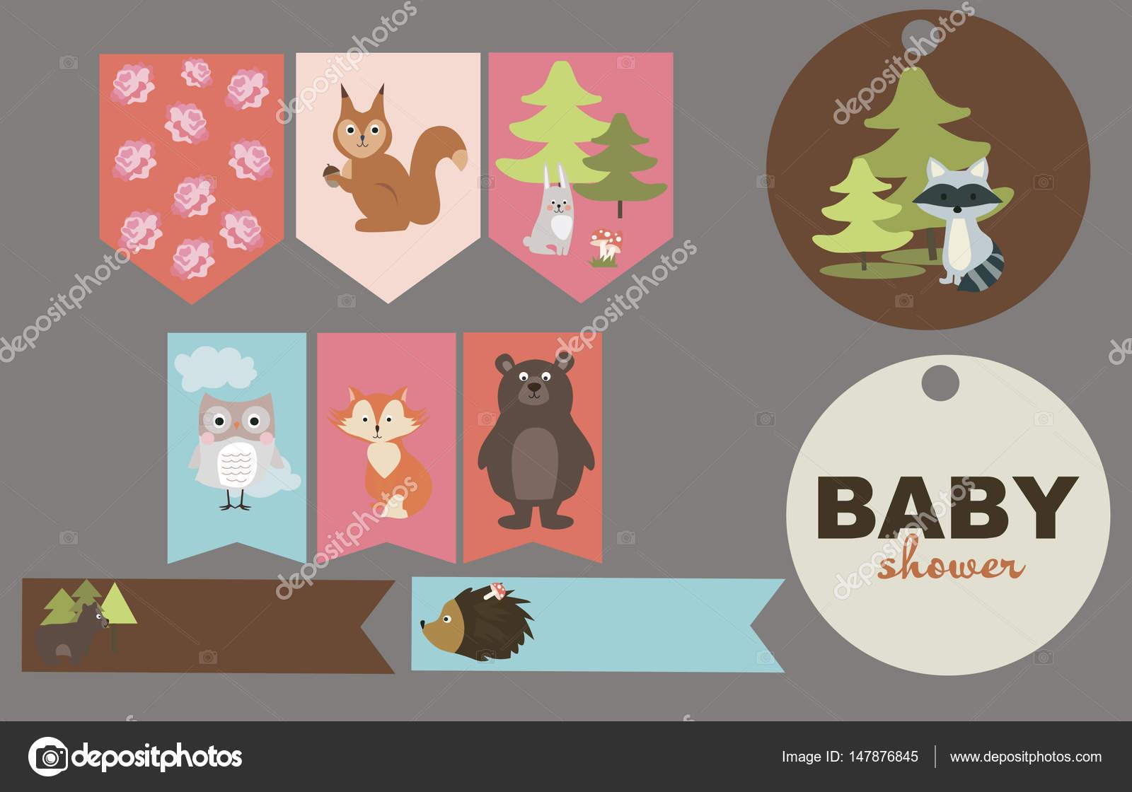 Animale zoo bandiera con sketched orso caro e alce clipart