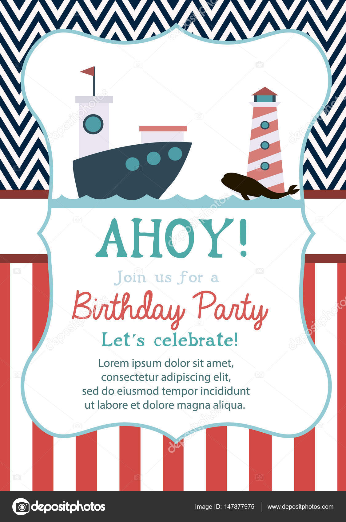 Happy Birthday Invitation Or Greeting Card Stock Vector