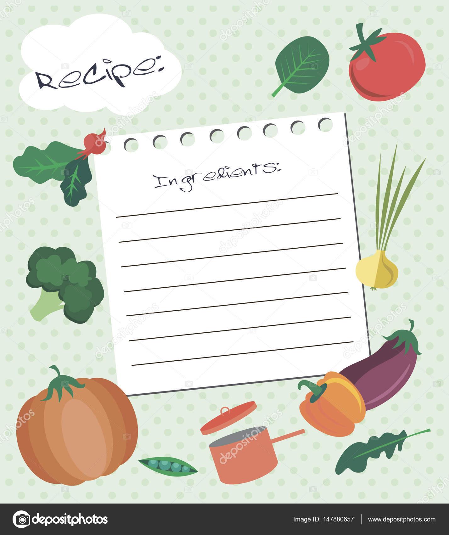 Plantilla de vector de tarjeta de receta. Tarjeta de ducha cocina ...