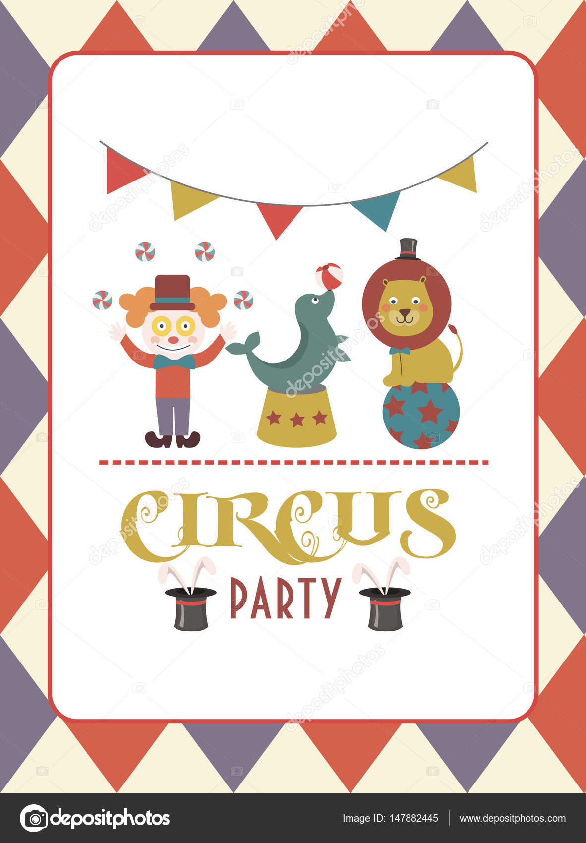 Circus party birthday invitation or greeting card — Stock Vector ...