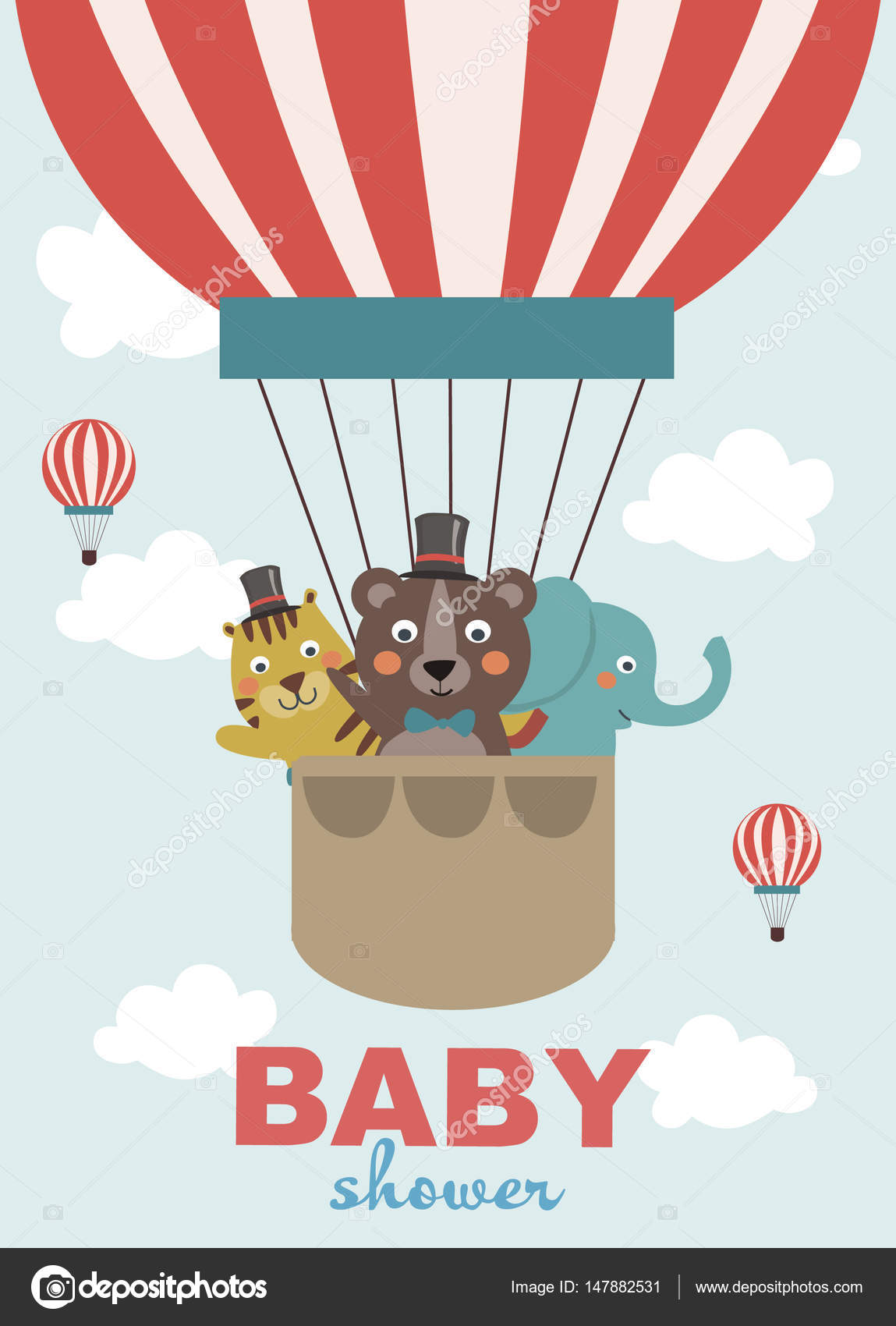Circus baby shower party invitation or greeting card — Stock Vector ...
