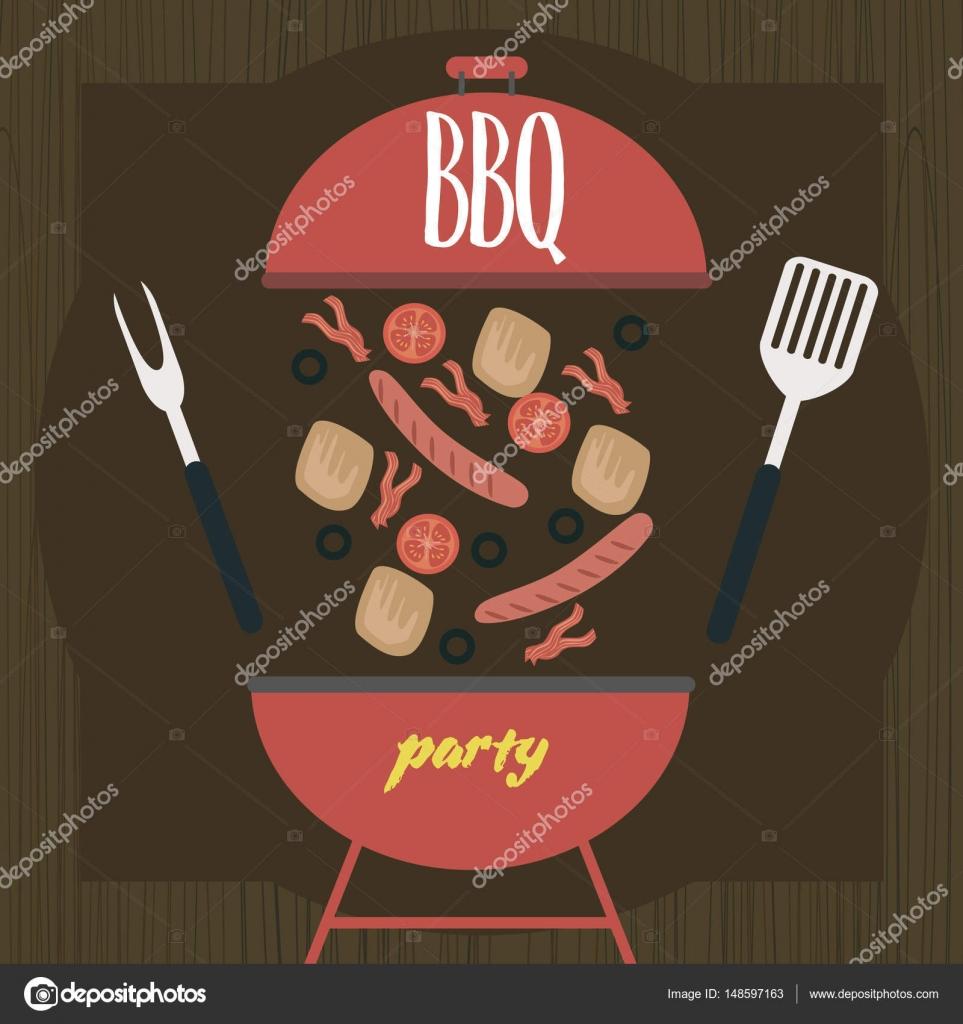 party einladung grill-picknick-karte — stockvektor #148597163, Einladungen