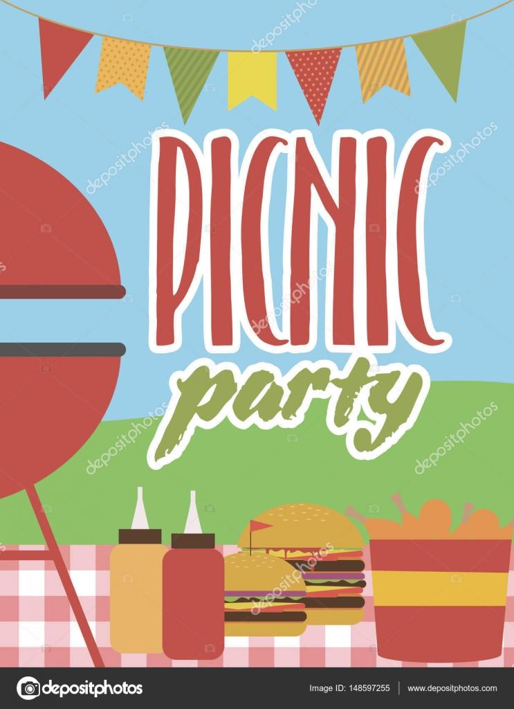 Sommer Party Einladung Grill-Picknick-Karte — Stockvektor © Vissay ...