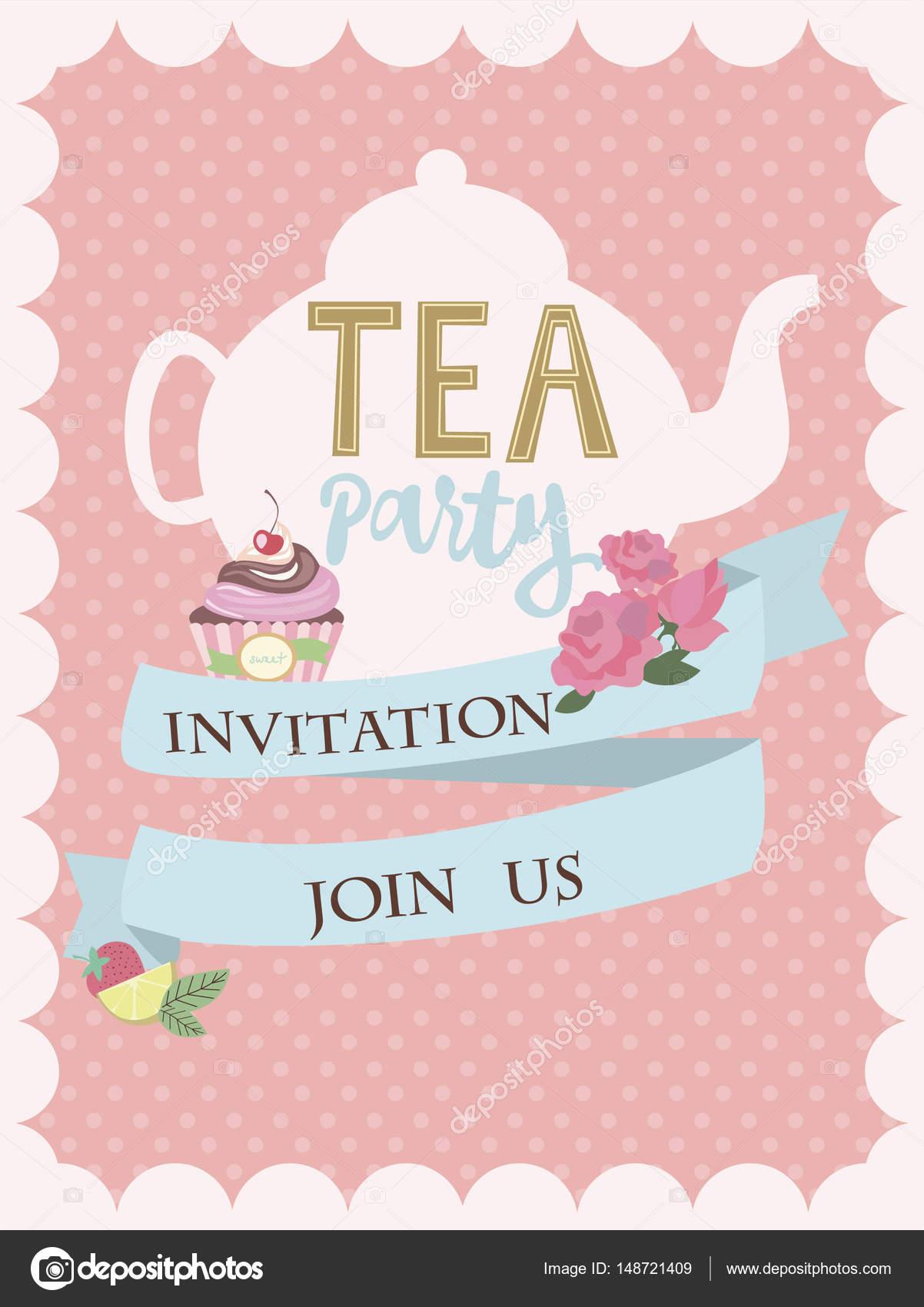 Invitaciones Para Fiesta De Té Tarjeta De Invitación De La