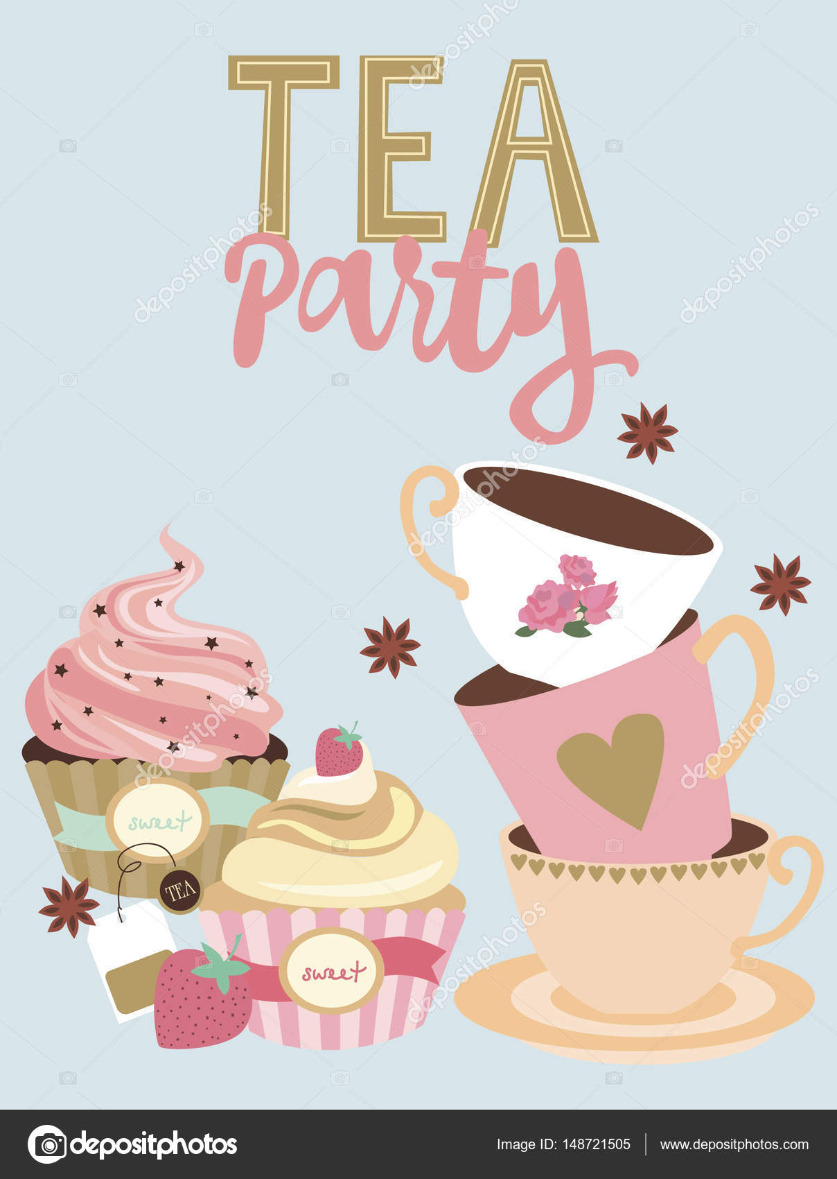 Tea Party Invitation Card Stock Vector C Vissay 148721505
