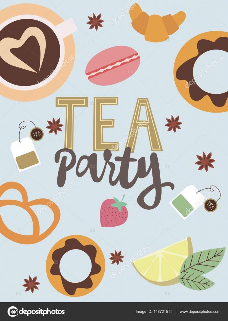Tea Party Invitation Card Stock Vector C Vissay 148721511