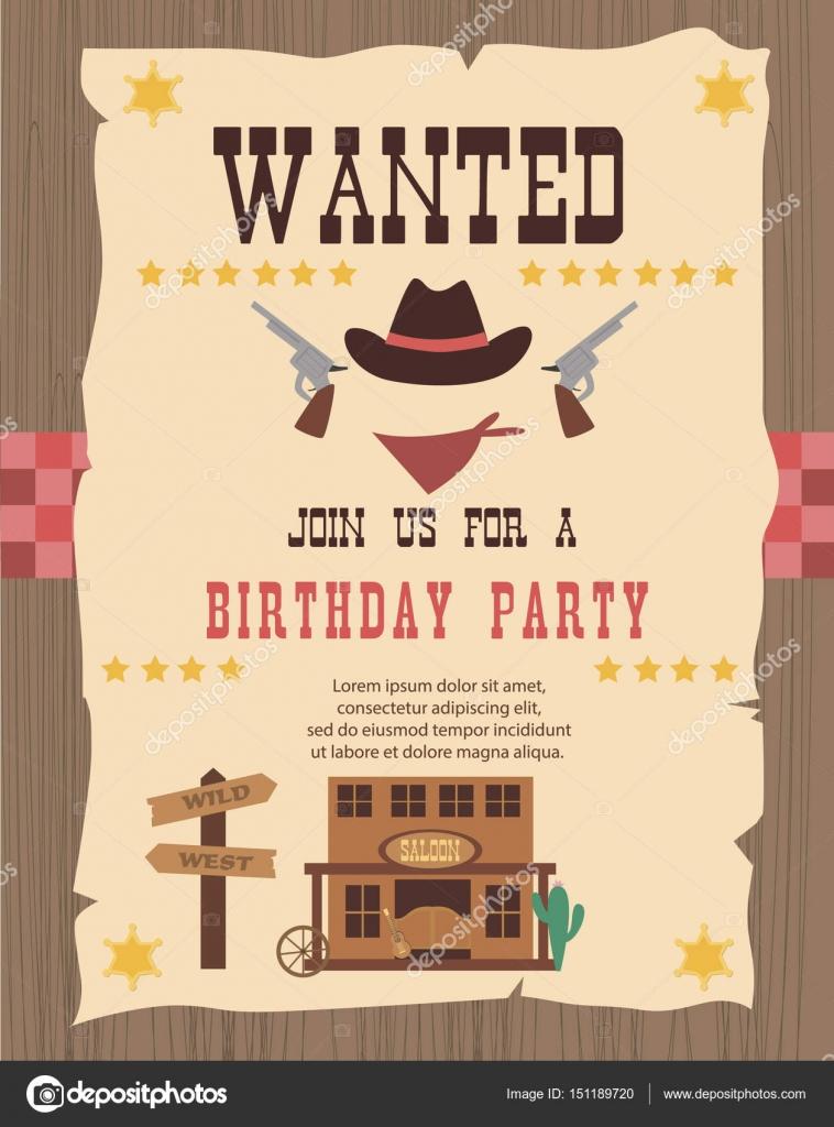 Cowboy party invitation card — Stock Vector © Vissay #151189720