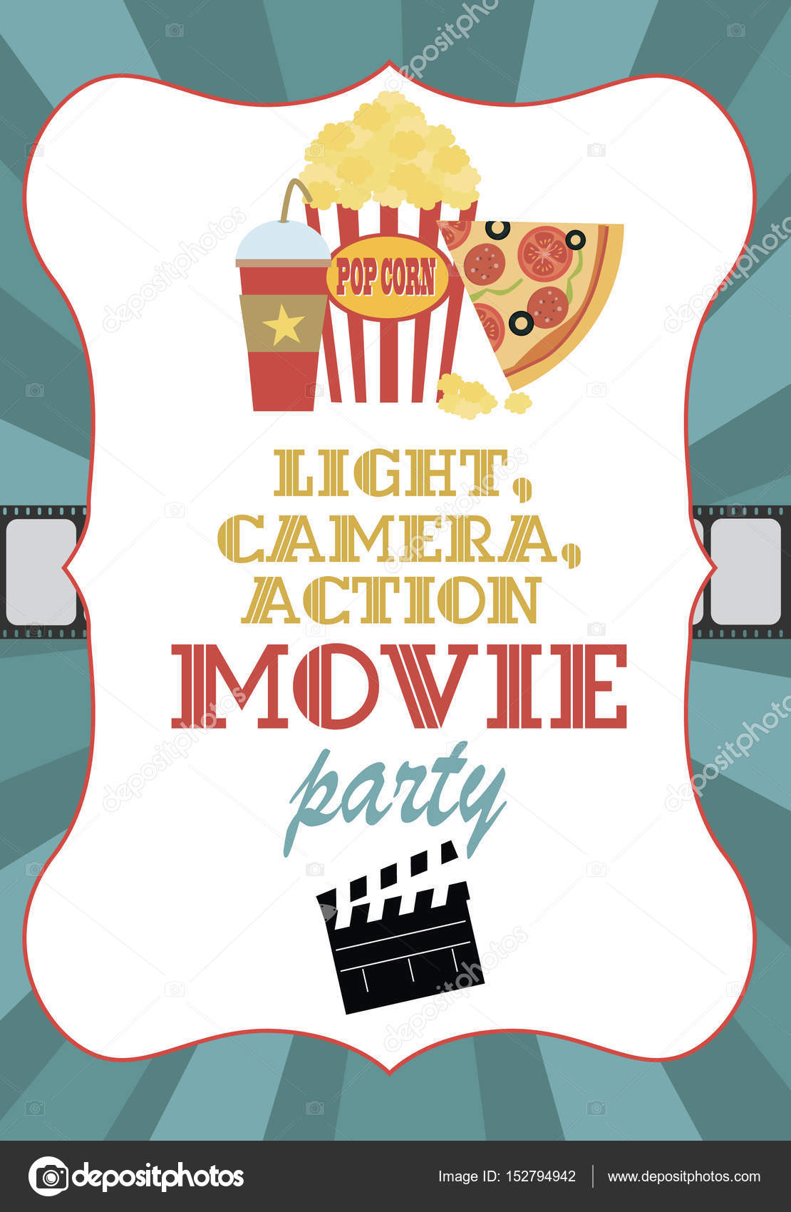 Film-Geburtstag-Party-Einladung-Karte — Stockvektor © Vissay #152794942