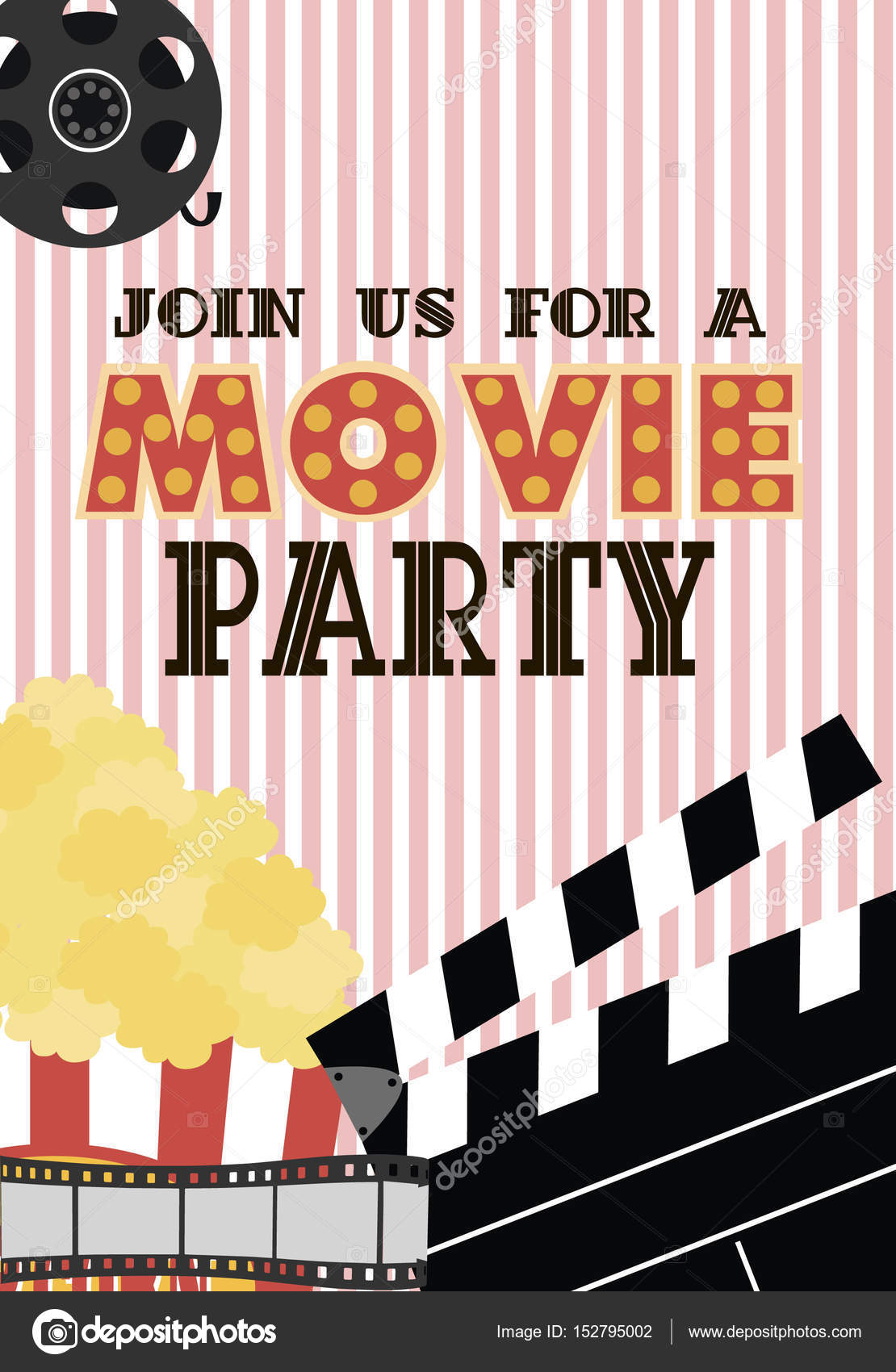 movie birthday party invitation card stock vector vissay 152795002