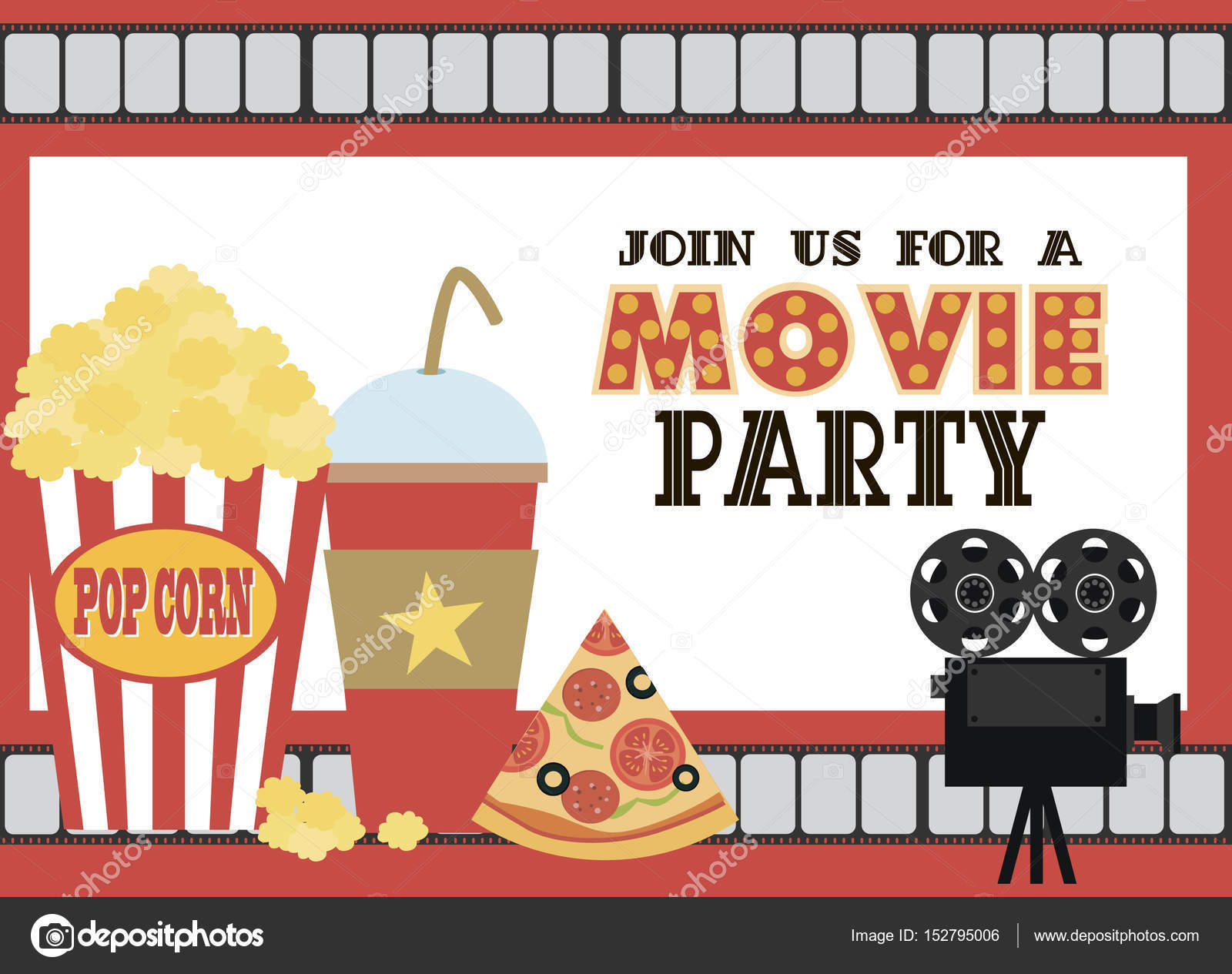 Movie Birthday party invitation card — Stock Vector © Vissay #152795006