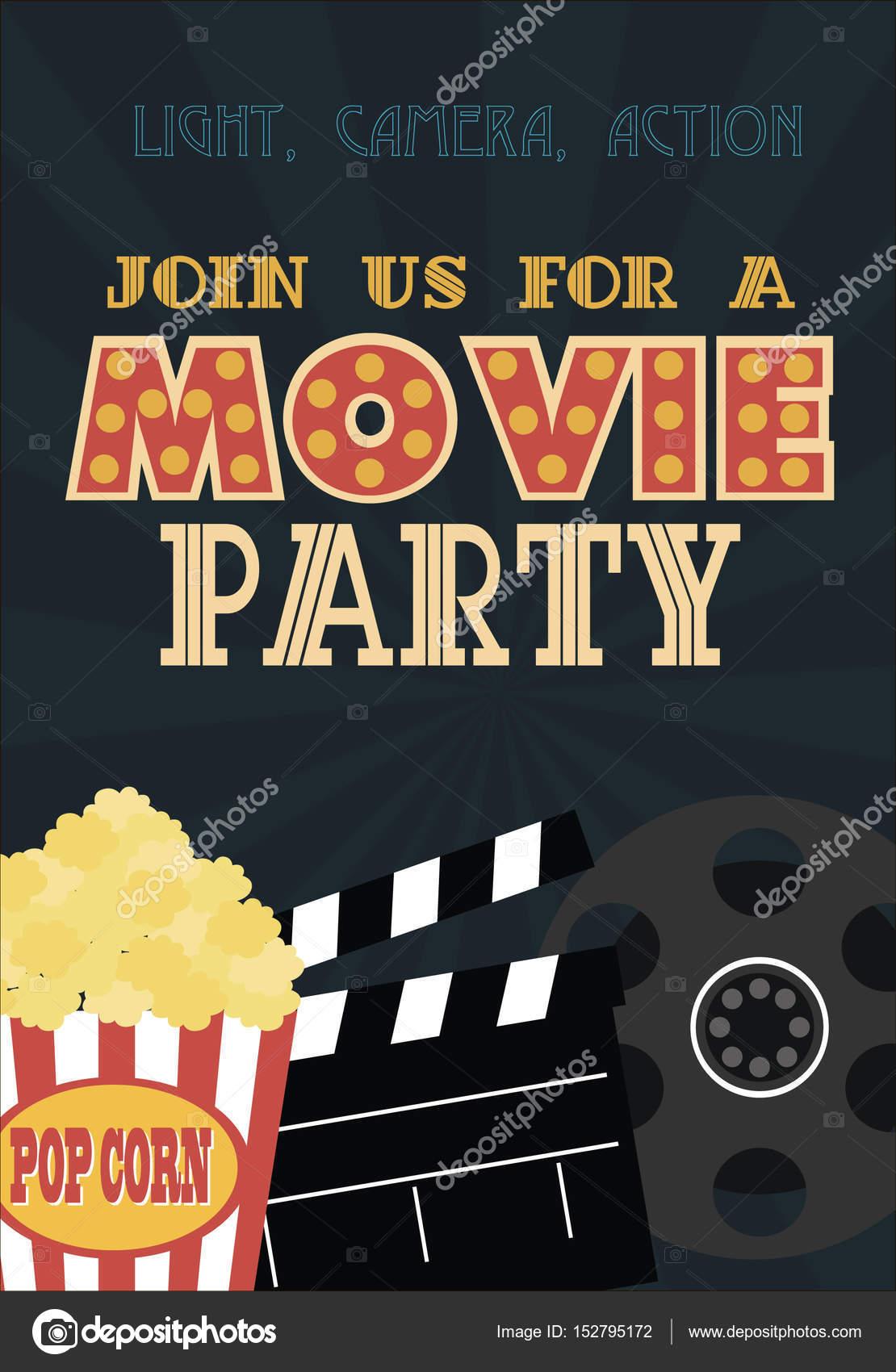 Film-Geburtstag-Party-Einladung-Karte — Stockvektor © Vissay #152795172