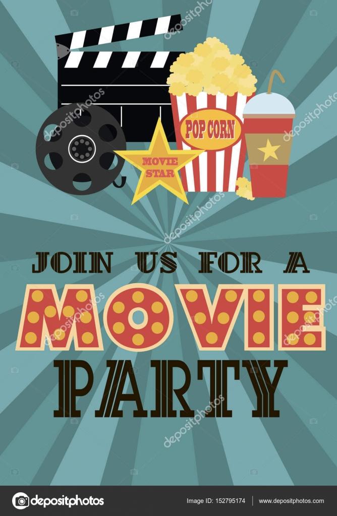 Film-Geburtstag-Party-Einladung-Karte — Stockvektor © Vissay #152795174